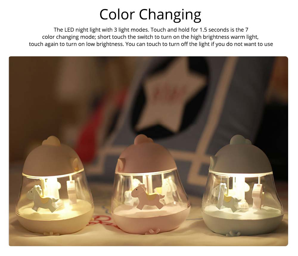 Children Tangible Lamp Bedside Light, USB Carousel Music Light with Fantasy Chicken Design 3