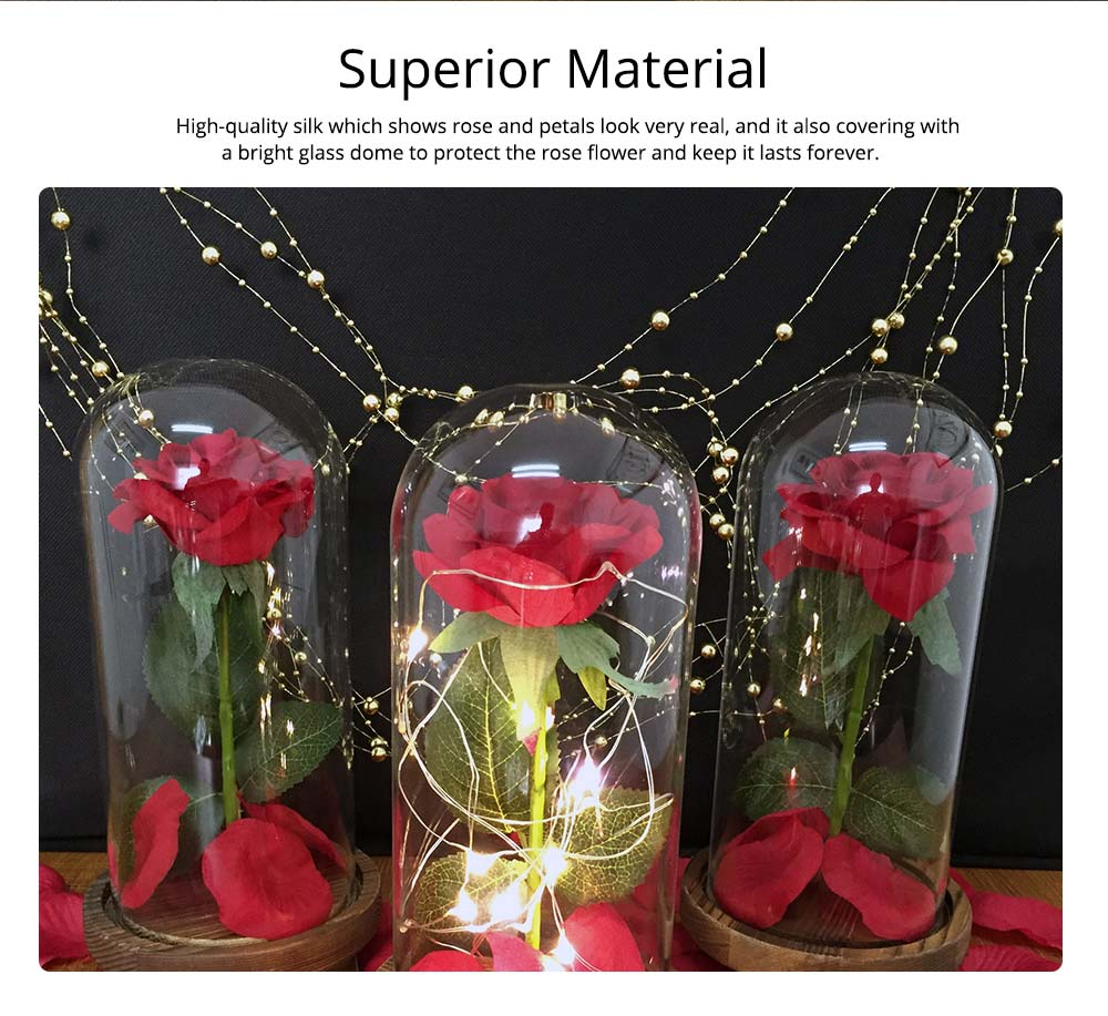 Red Rose Lamp with LED Fairy String Lights, Fallen Petals and ABS Base in A Glass Dome, Valentine's Day Best Gift for Her 7
