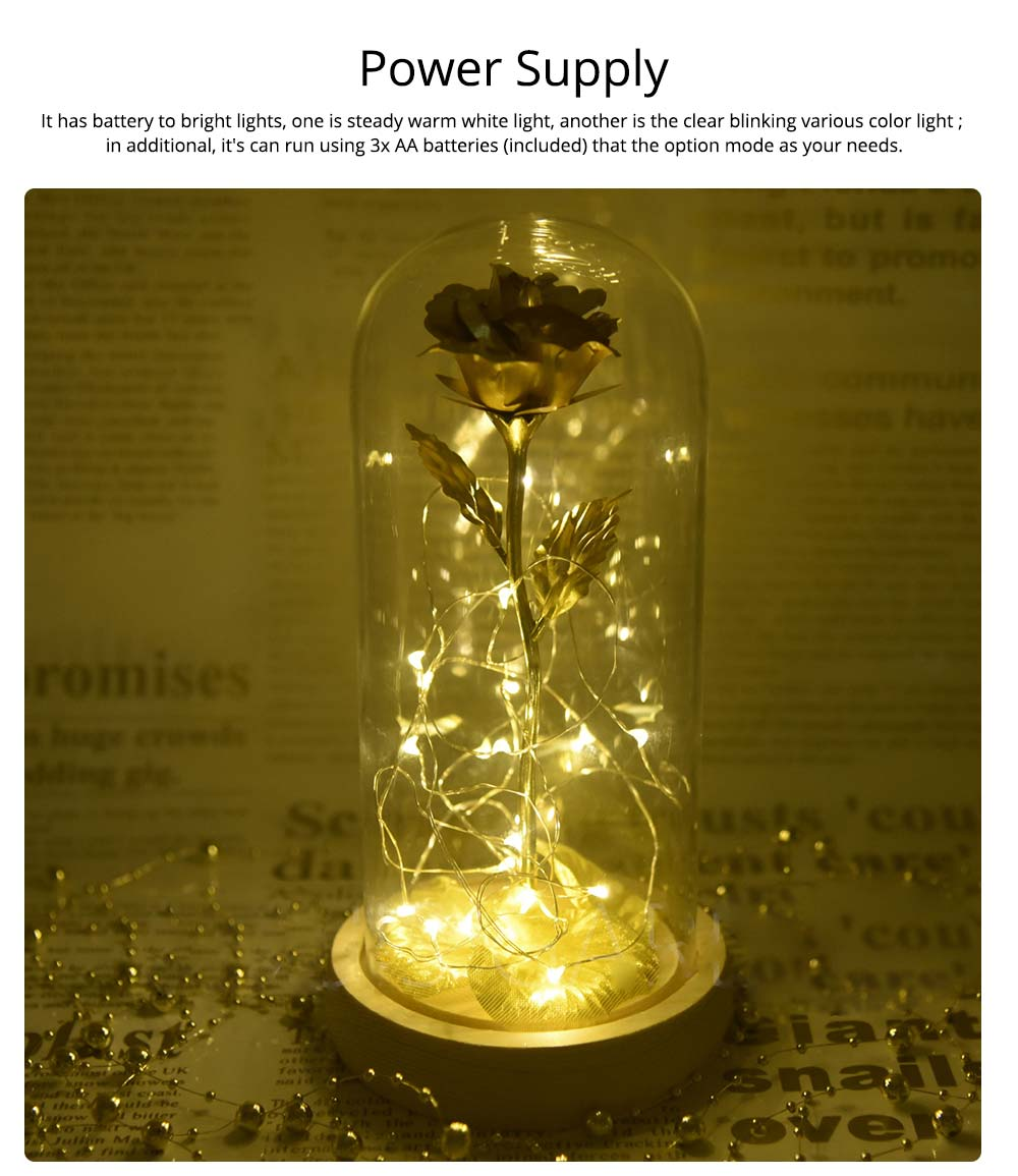 Valentines Day Presents - Gold Roses Lamp with Fairy String Lights, Fallen Petals and ABS Base in A Glass Dome 10