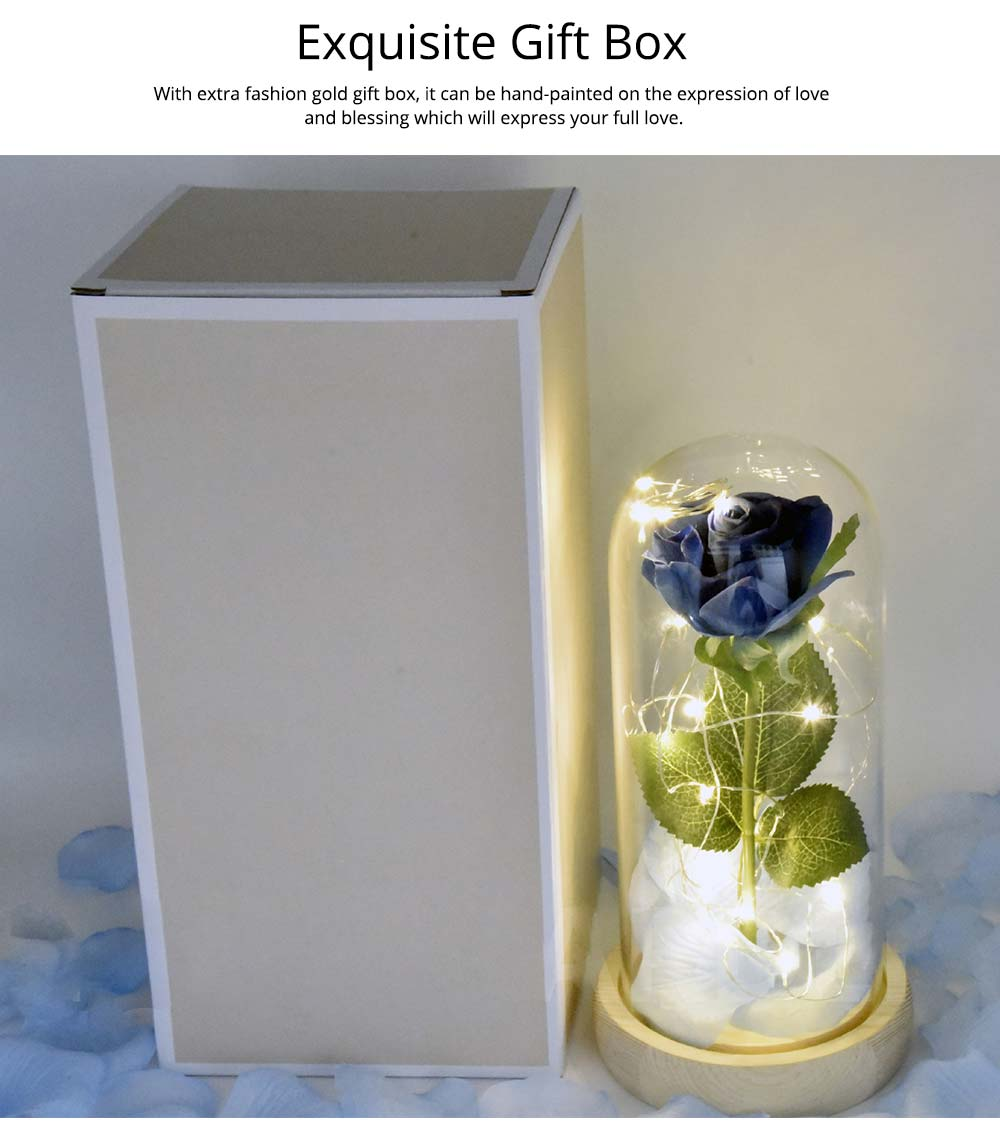 Blue Roses Lamp with LED Fairy String Lights, Fallen Petals and ABS Base in A Glass Dome, Valentine's Day Best Gift for Her 13