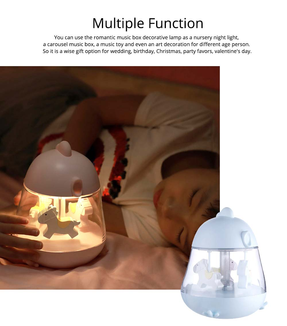Children Tangible Lamp Bedside Light, USB Carousel Music Light with Fantasy Chicken Design 2