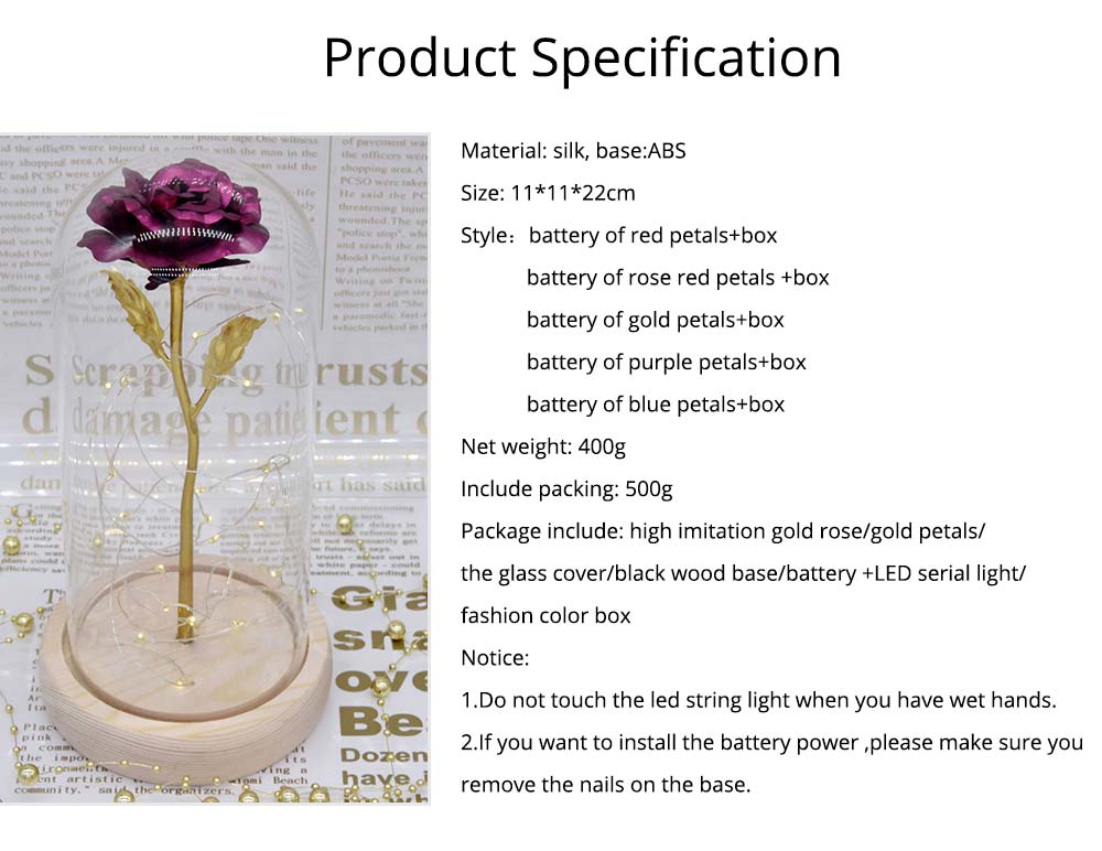 Valentines Day Presents - Gold Roses Lamp with Fairy String Lights, Fallen Petals and ABS Base in A Glass Dome 15