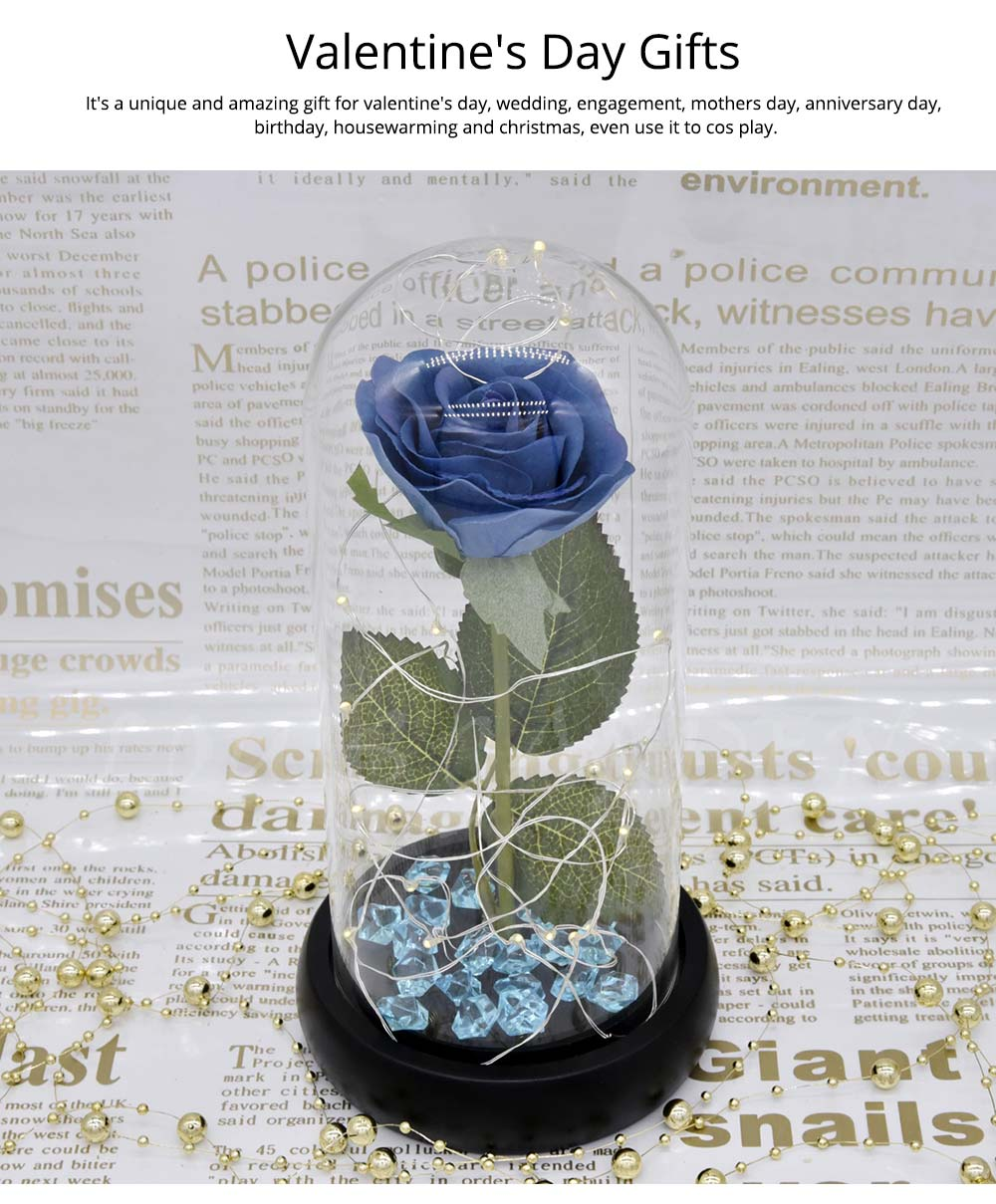 Blue Roses Lamp with LED Fairy String Lights, Fallen Petals and ABS Base in A Glass Dome, Valentine's Day Best Gift for Her 12