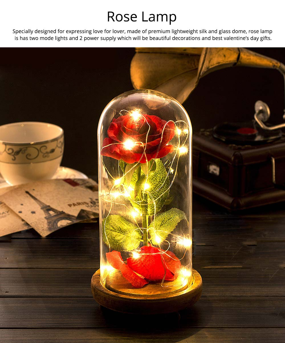 Red Rose Lamp with LED Fairy String Lights, Fallen Petals and ABS Base in A Glass Dome, Valentine's Day Best Gift for Her 6