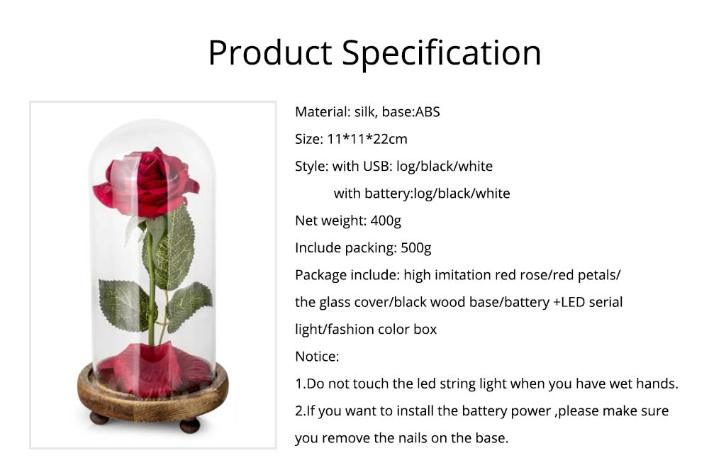 Red Rose Lamp with LED Fairy String Lights, Fallen Petals and ABS Base in A Glass Dome, Valentine's Day Best Gift for Her 13
