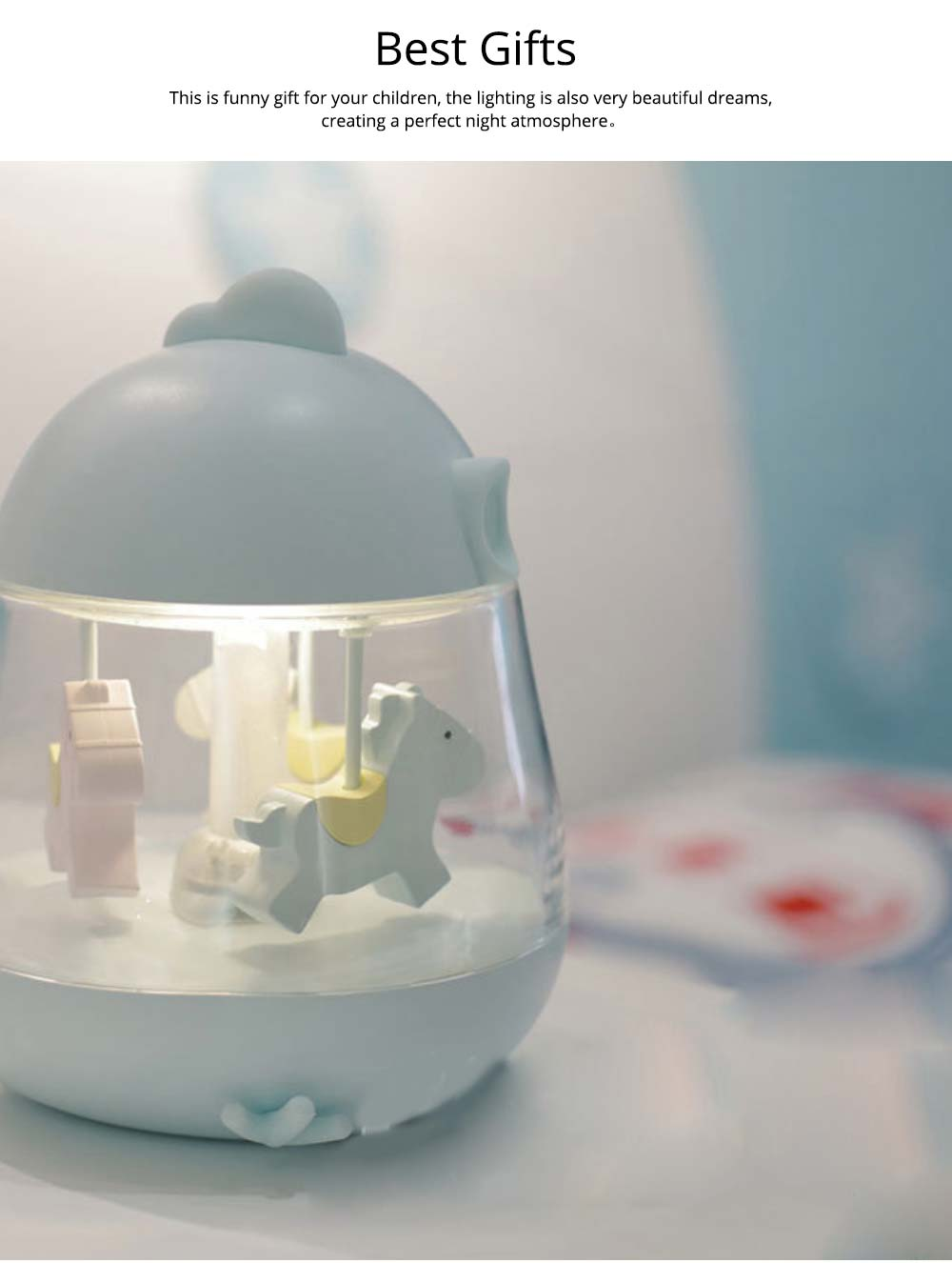 Children Tangible Lamp Bedside Light, USB Carousel Music Light with Fantasy Chicken Design 5