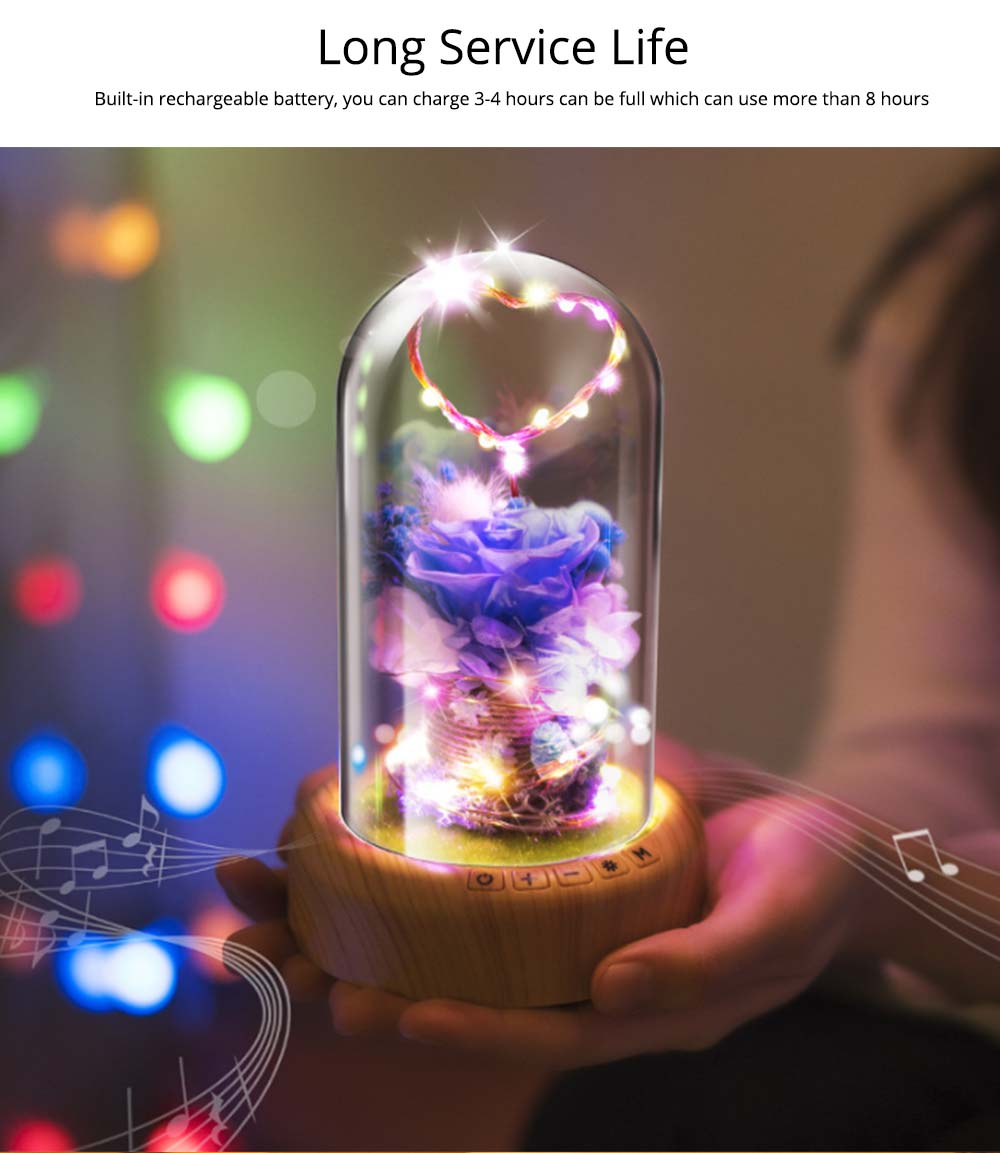 Enchanted LED Rose in Glass Dome Bluetooth Stereo Rotating Music Box for Wife Lover Girlfriend Wedding Anniversary Birthday Present 6