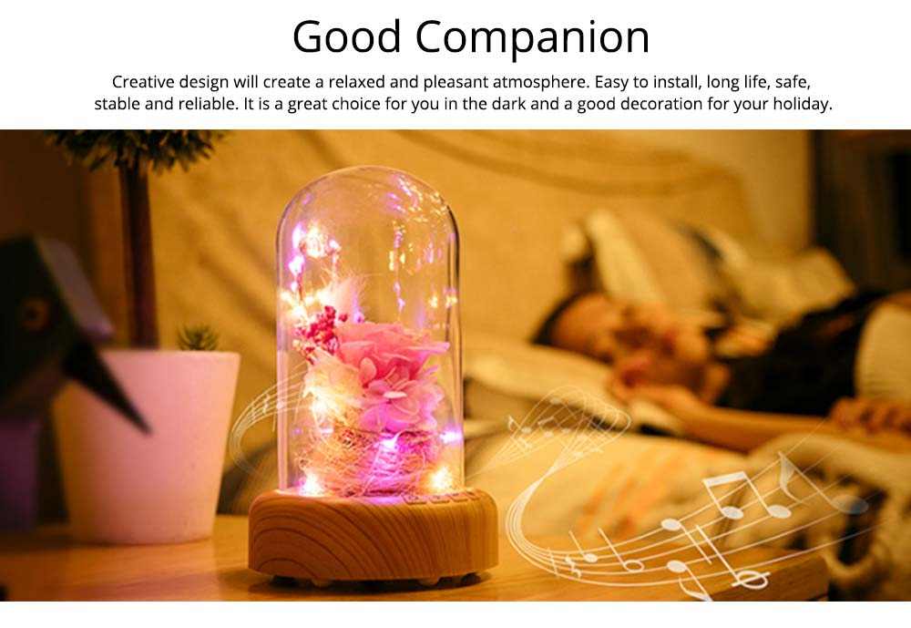 Enchanted LED Rose in Glass Dome Bluetooth Stereo Rotating Music Box for Wife Lover Girlfriend Wedding Anniversary Birthday Present 2