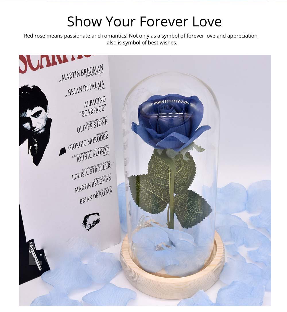 Blue Roses Lamp with LED Fairy String Lights, Fallen Petals and ABS Base in A Glass Dome, Valentine's Day Best Gift for Her 9