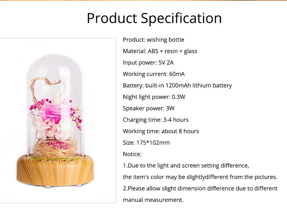 Enchanted LED Rose in Glass Dome Bluetooth Stereo Rotating Music Box for Wife Lover Girlfriend Wedding Anniversary Birthday Present 8