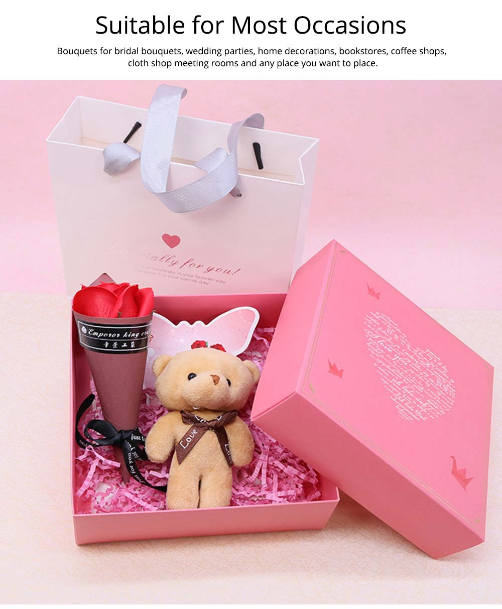 Preserved Fresh Flower with Lovely Bear Gift Box for Valentine's Day, Wedding Parties, Romantic Gift Perserved Fresh Flower Bear Box 4