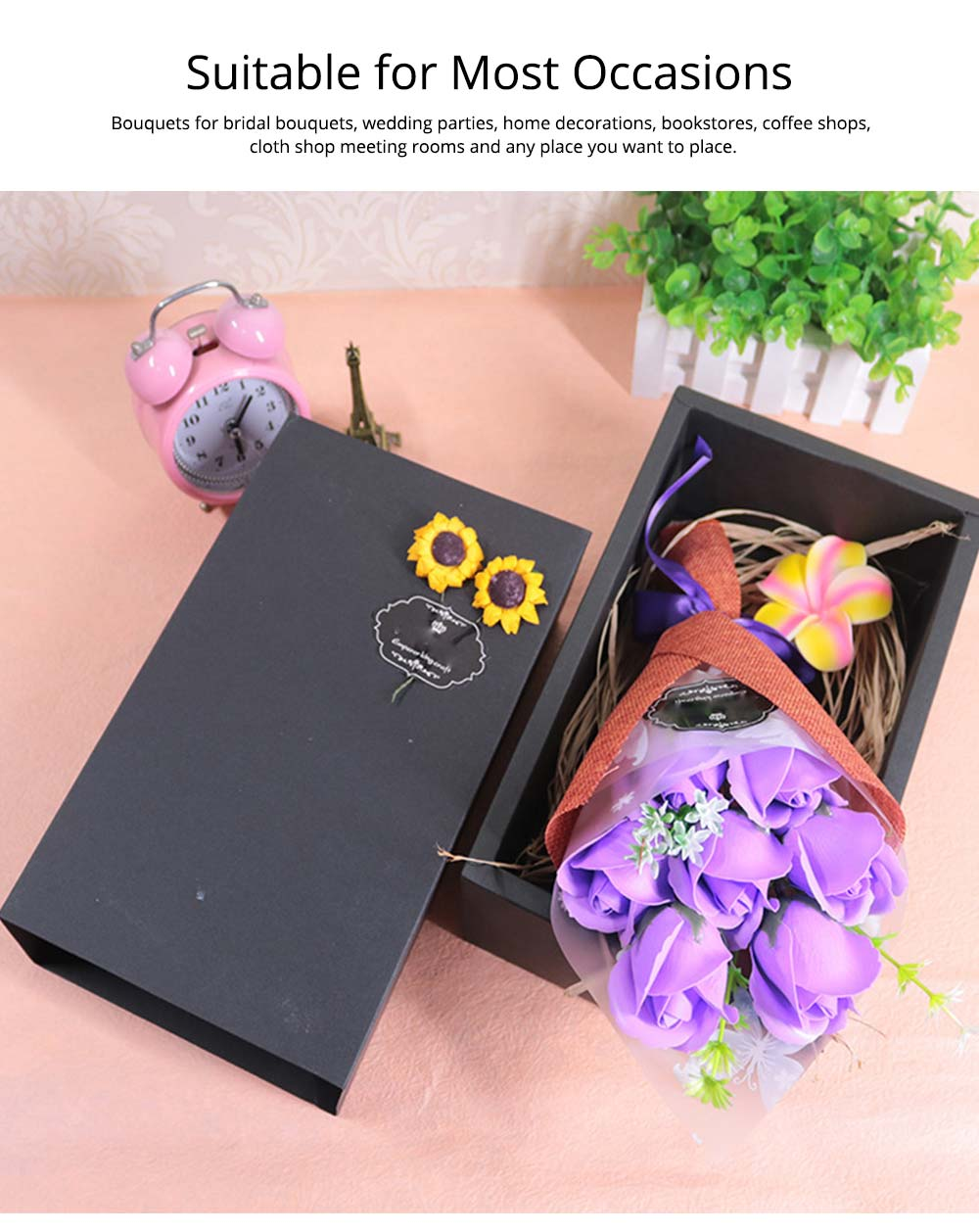 7 Romantic Love Roses Soap Flowers with Black Cardboard Box for Girlfriend Valentine's Day Gift 4