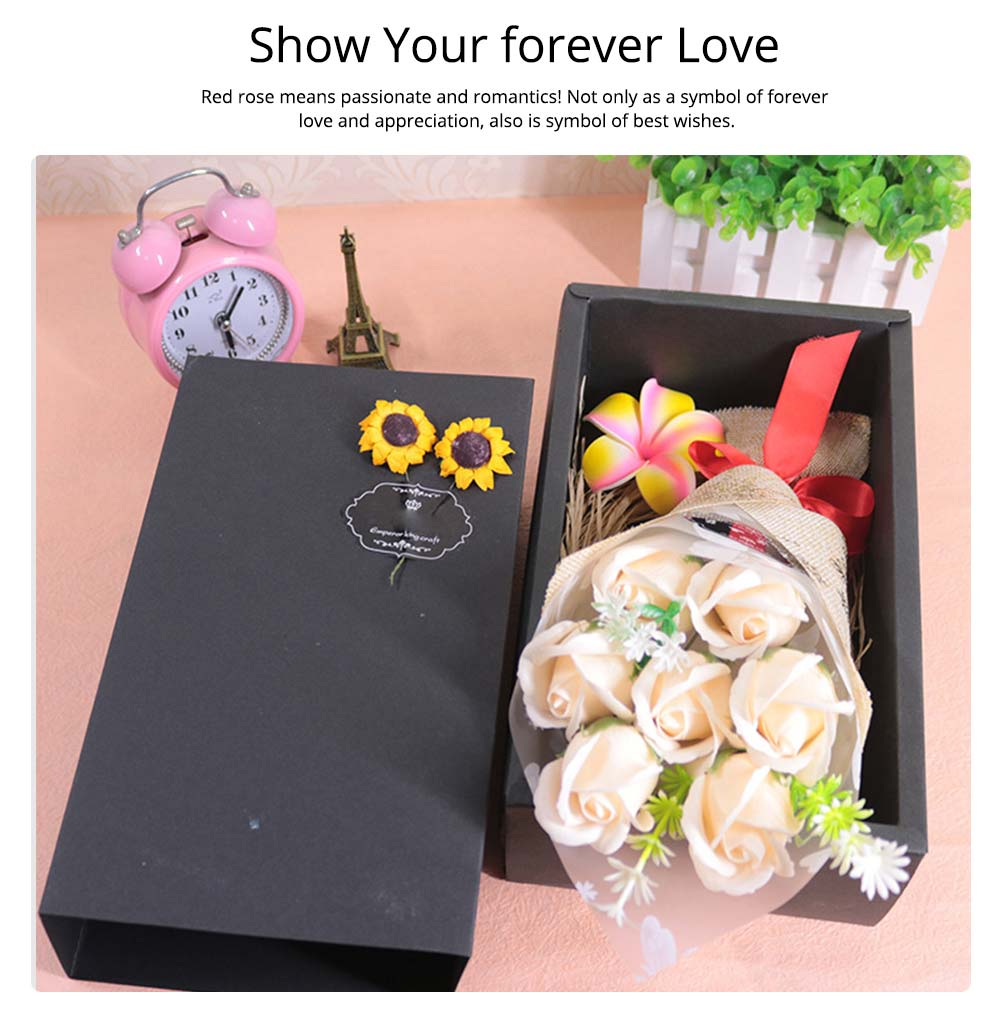 7 Romantic Love Roses Soap Flowers with Black Cardboard Box for Girlfriend Valentine's Day Gift 3
