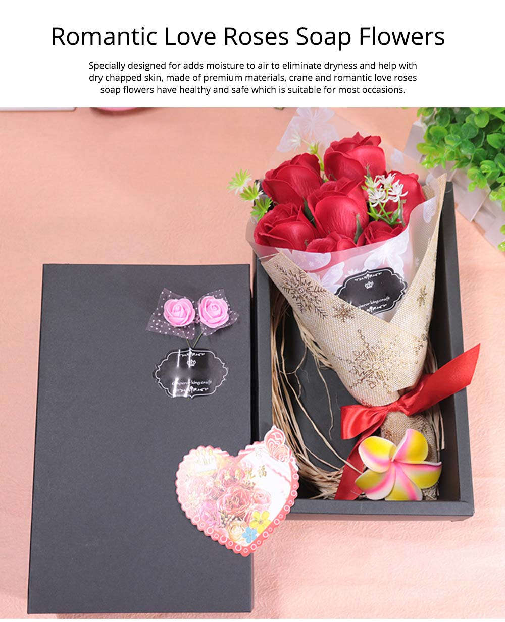 7 Romantic Love Roses Soap Flowers with Black Cardboard Box for Girlfriend Valentine's Day Gift 0
