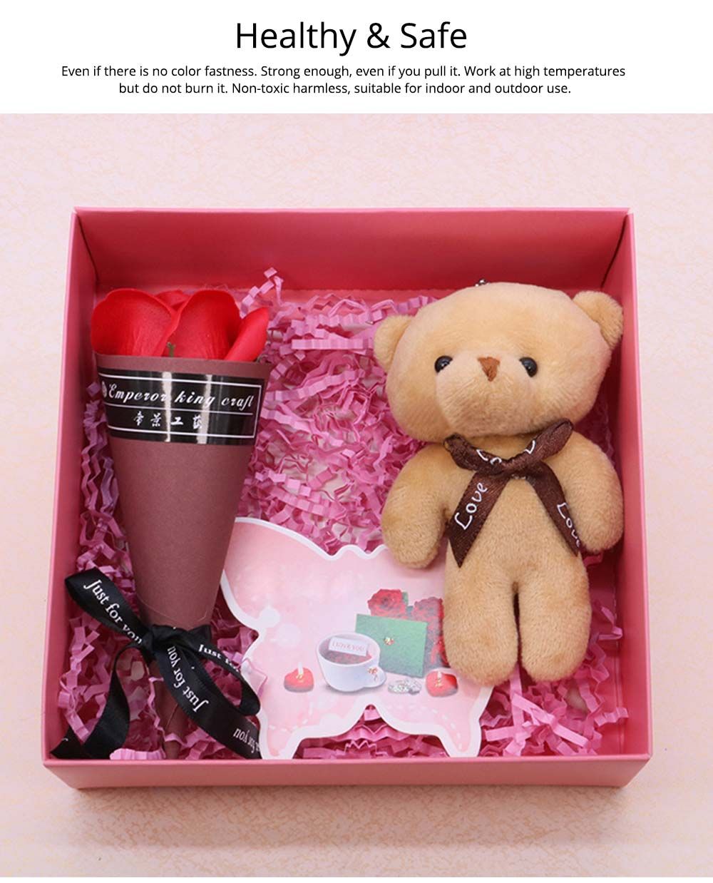 Preserved Fresh Flower with Lovely Bear Gift Box for Valentine's Day, Wedding Parties, Romantic Gift Perserved Fresh Flower Bear Box 2