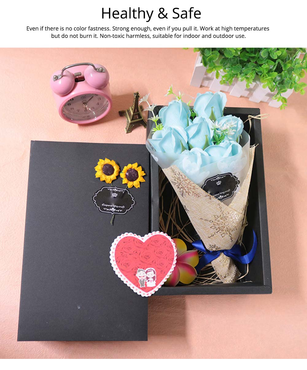 7 Romantic Love Roses Soap Flowers with Black Cardboard Box for Girlfriend Valentine's Day Gift 2