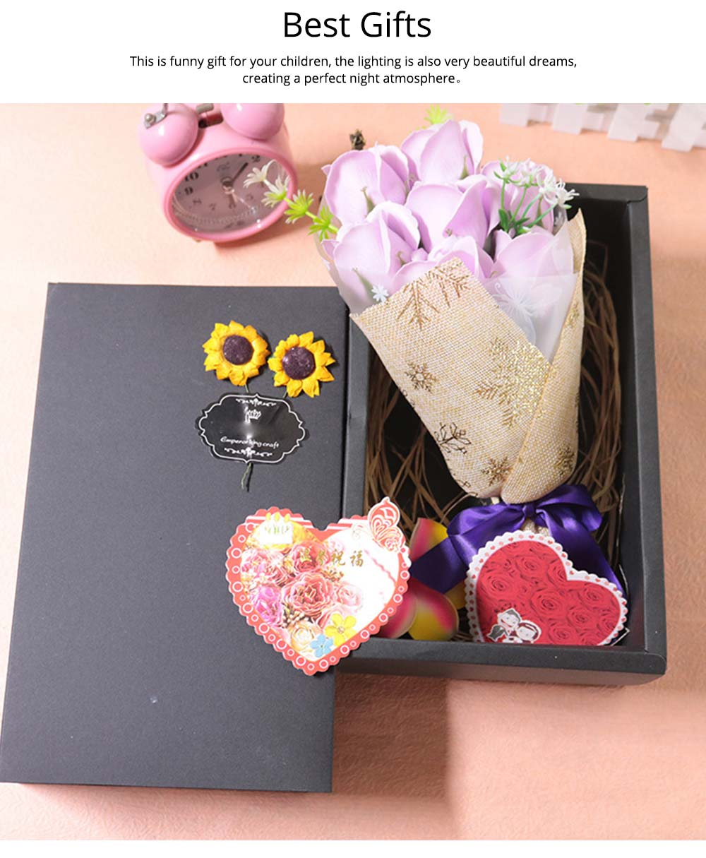 7 Romantic Love Roses Soap Flowers with Black Cardboard Box for Girlfriend Valentine's Day Gift 5