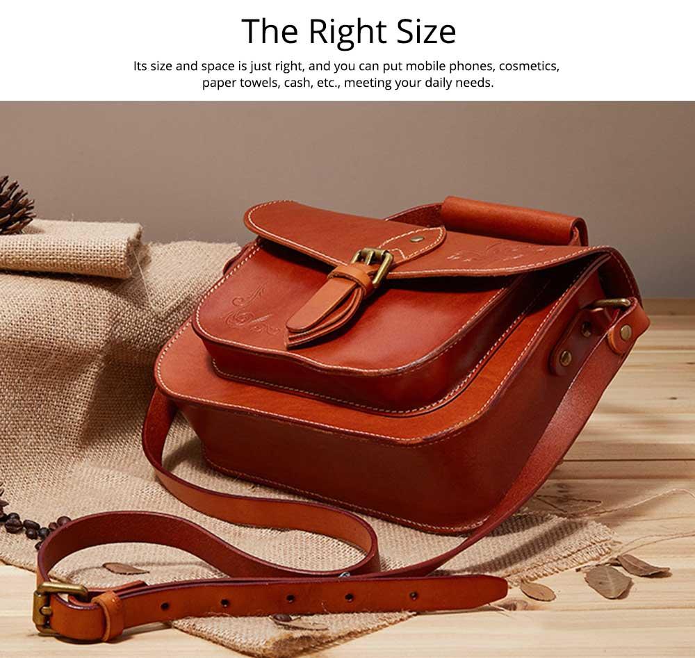 Retro Female Shoulder Messenger Bag, Top Layer Cowhide Handbag with Shoulder Strap, Vintage Messenger Handbag 2019 2
