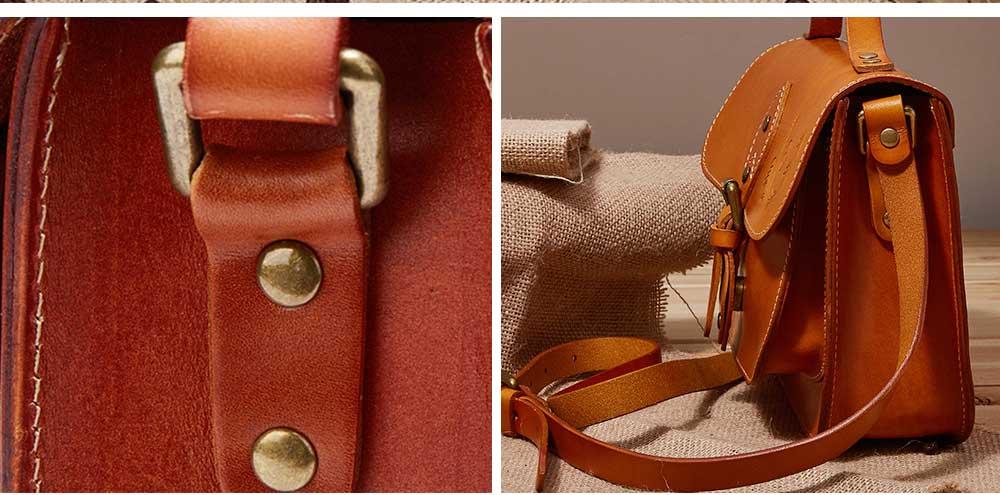 Retro Female Shoulder Messenger Bag, Top Layer Cowhide Handbag with Shoulder Strap, Vintage Messenger Handbag 2019 4