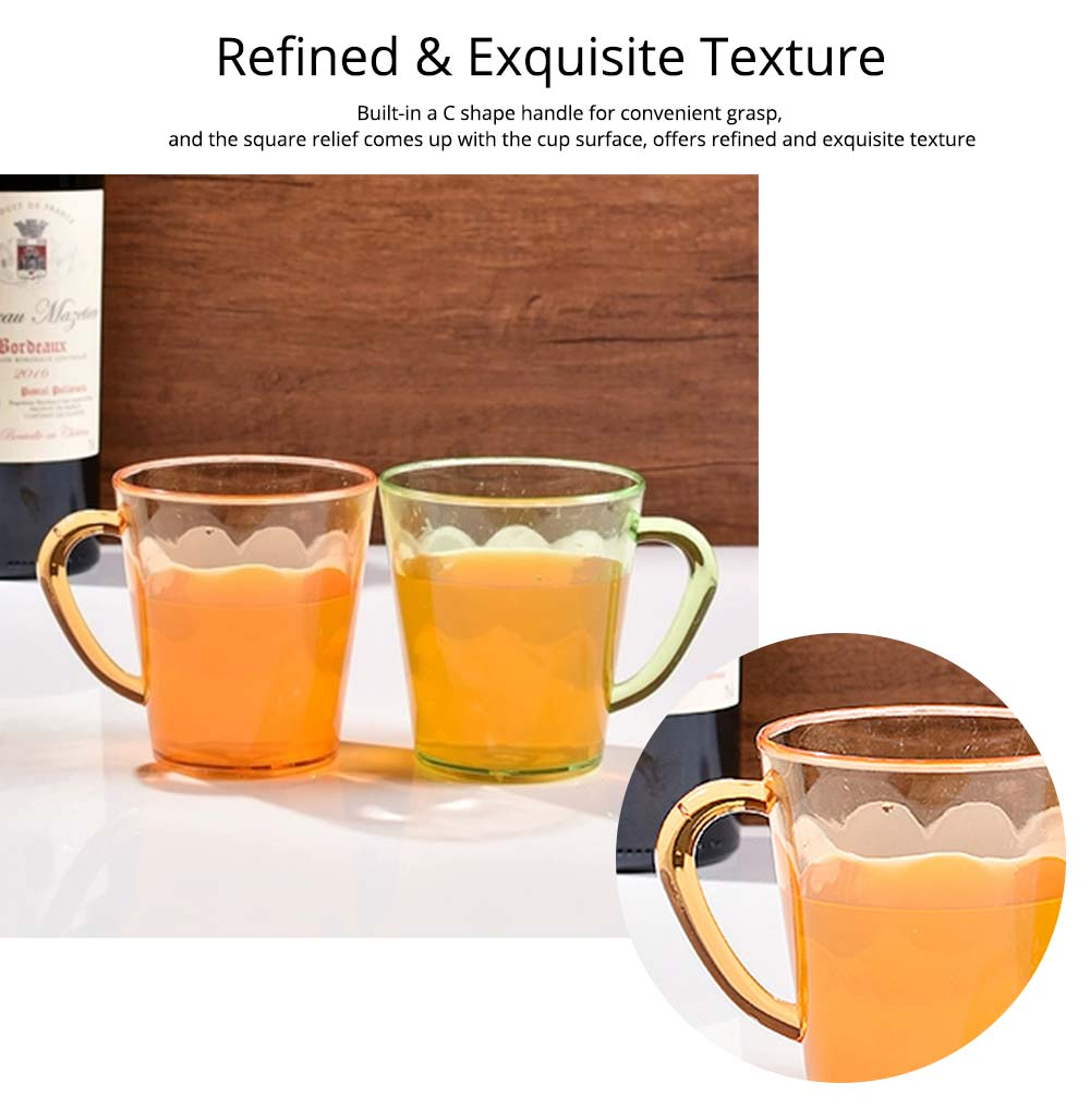Juice Cups with C-shape Handle, Transparent Exquisite Glass Plastic Cups for Coffee, Juice, Liquor, Beverages 3