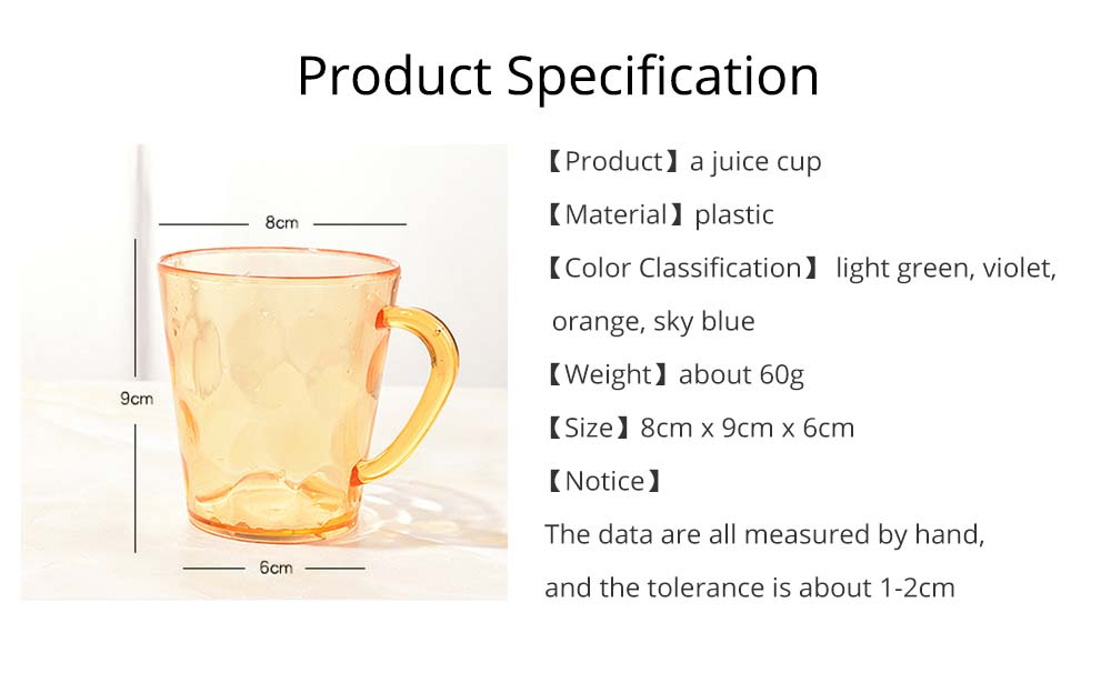 Juice Cups with C-shape Handle, Transparent Exquisite Glass Plastic Cups for Coffee, Juice, Liquor, Beverages 8