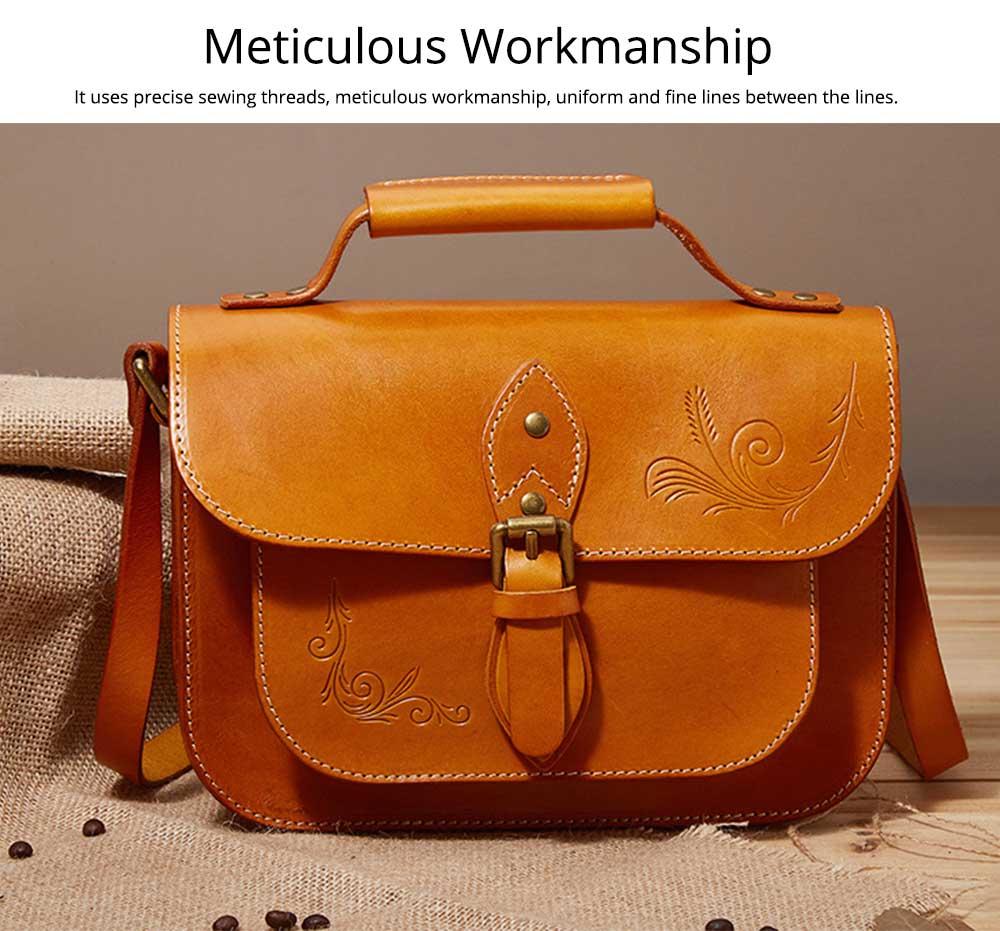 Retro Female Shoulder Messenger Bag, Top Layer Cowhide Handbag with Shoulder Strap, Vintage Messenger Handbag 2019 5