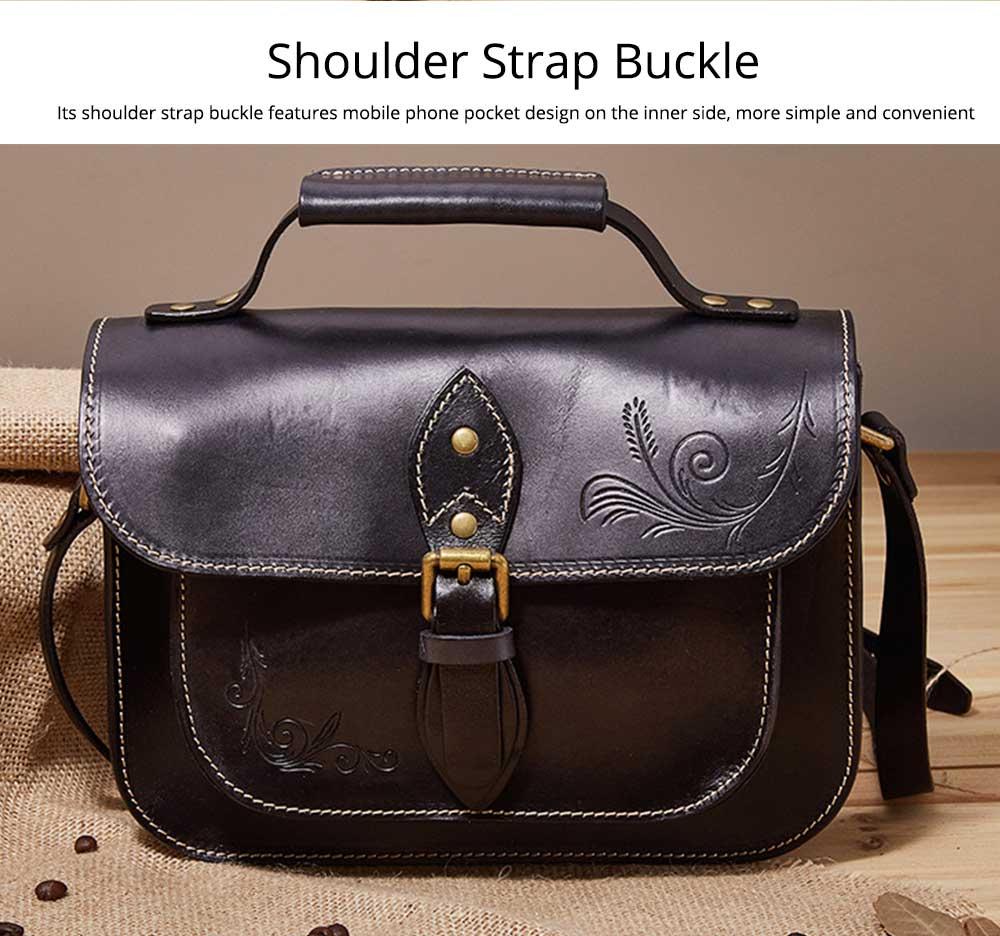 Retro Female Shoulder Messenger Bag, Top Layer Cowhide Handbag with Shoulder Strap, Vintage Messenger Handbag 2019 3