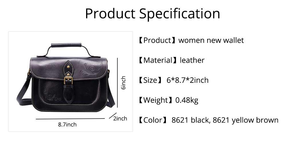 Retro Female Shoulder Messenger Bag, Top Layer Cowhide Handbag with Shoulder Strap, Vintage Messenger Handbag 2019 8
