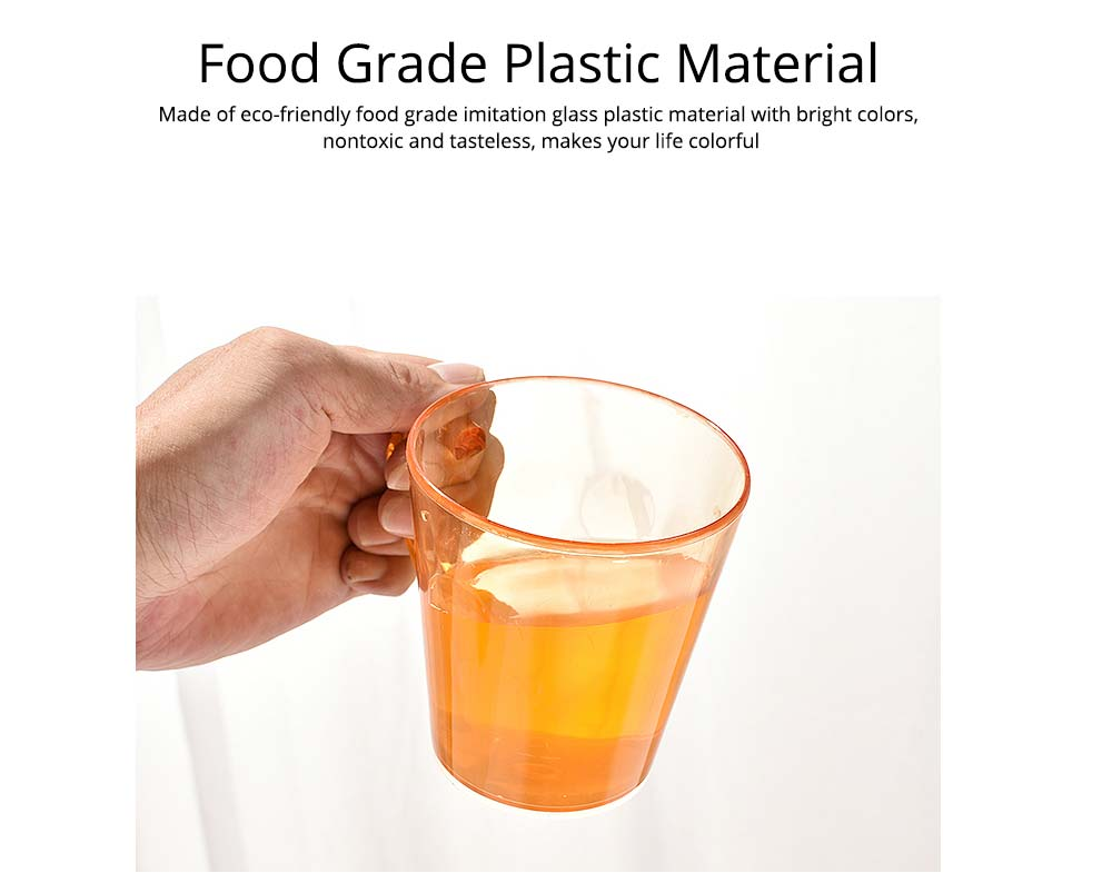 Juice Cups with C-shape Handle, Transparent Exquisite Glass Plastic Cups for Coffee, Juice, Liquor, Beverages 1