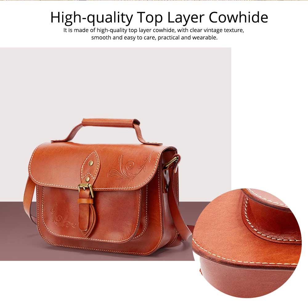 Retro Female Shoulder Messenger Bag, Top Layer Cowhide Handbag with Shoulder Strap, Vintage Messenger Handbag 2019 1