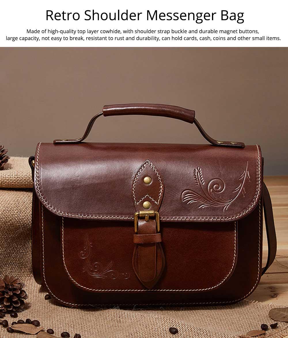 Retro Female Shoulder Messenger Bag, Top Layer Cowhide Handbag with Shoulder Strap, Vintage Messenger Handbag 2019 0