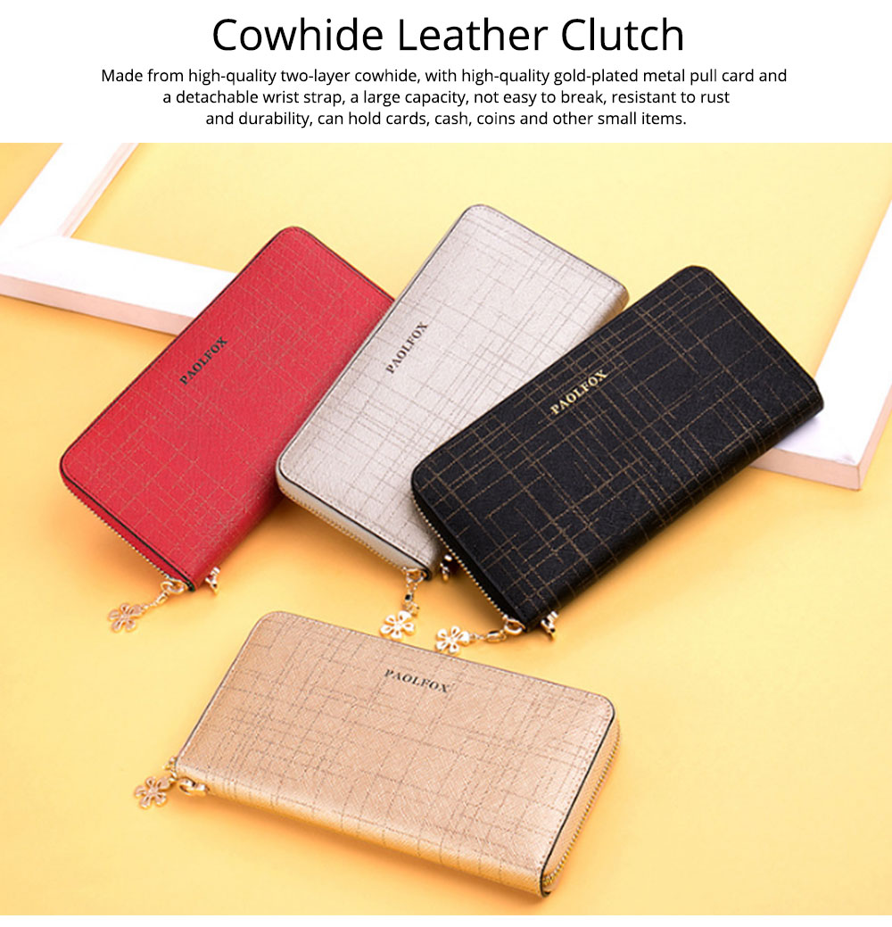 Two-layer Cowhide Leather Clutch, Multifunctional Large Capacity Clutch for Women, 2019 New Long Zipper Purse 7