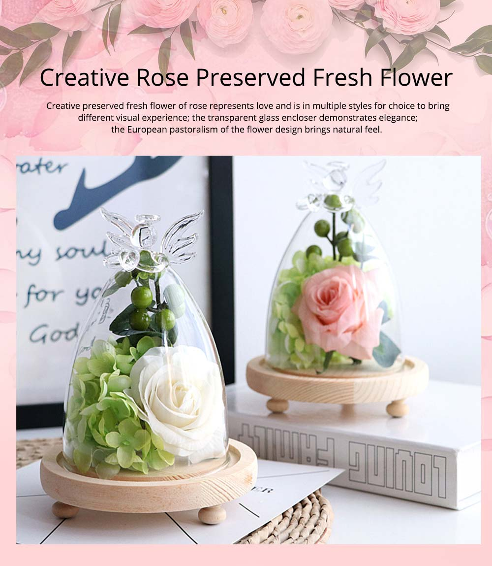 Preserved Fresh Flower Rose Plus Glass Encloser Set, as Ornament Gift of Valentine's Day or  Birthday 0