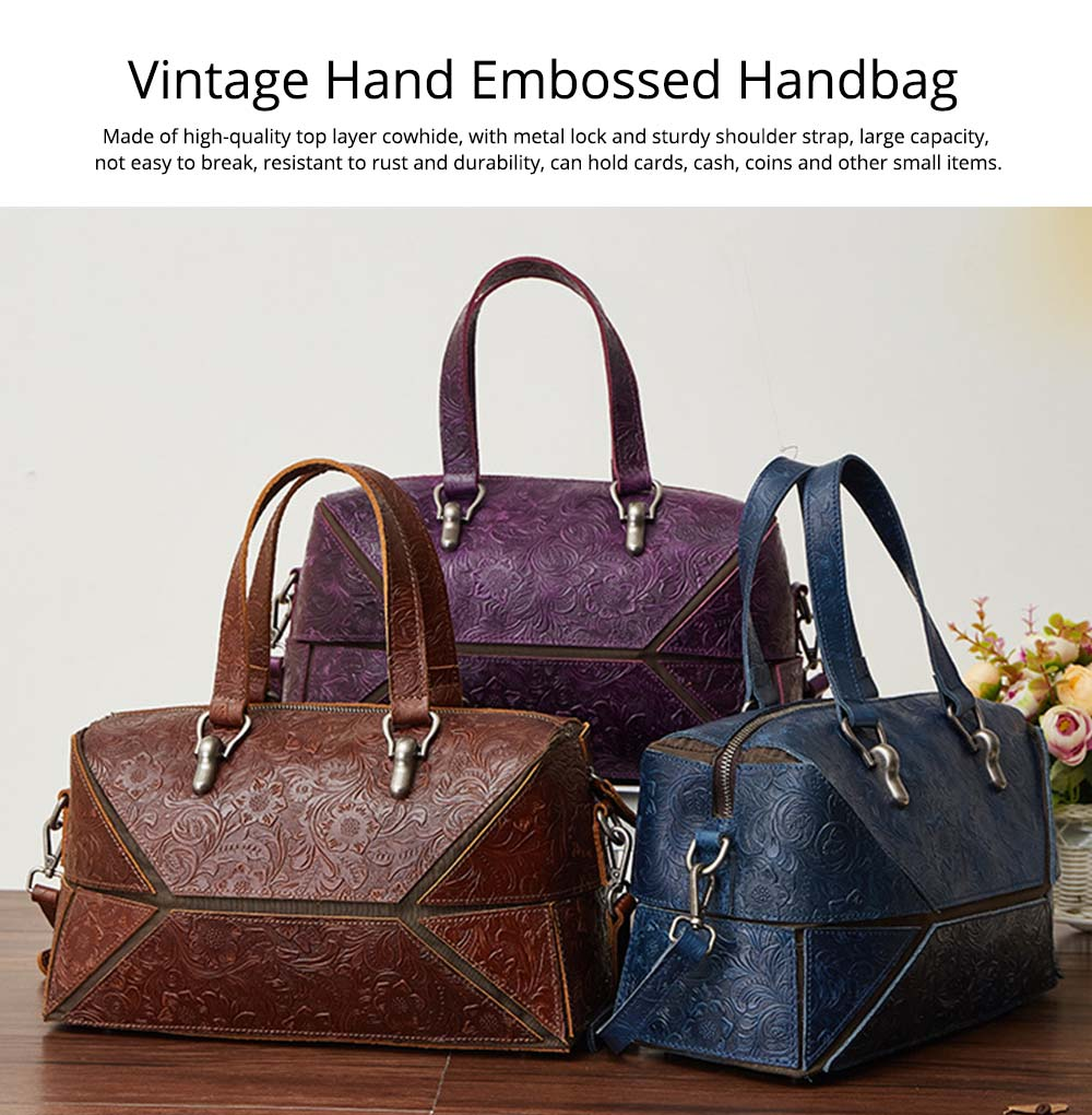 Vintage Hand Embossed Handbag, Autumn Winter Shoulder Bag, Ladies First Layer Leather Crossbody Bag 2019 0