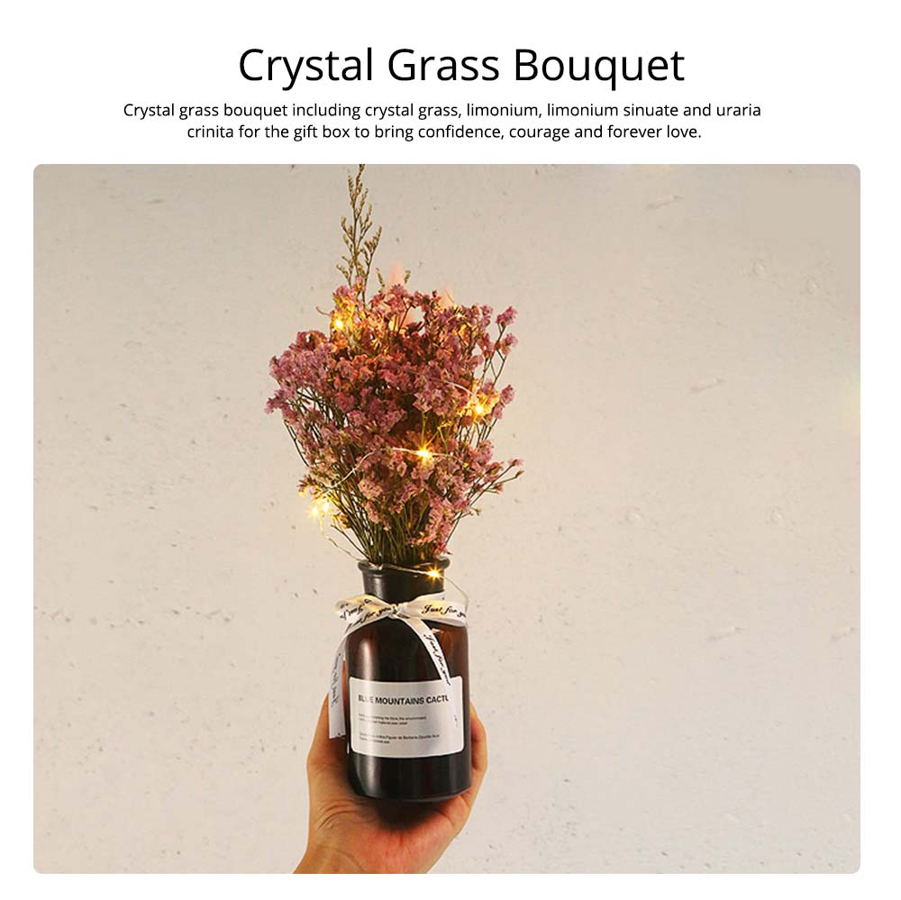 DIY Creative Preserved Fresh Flower, Dry Crystal Grass Bouquet with String Lights, Fresh Romantic Dry Flower for Birthday New Year Valentine's Day 1