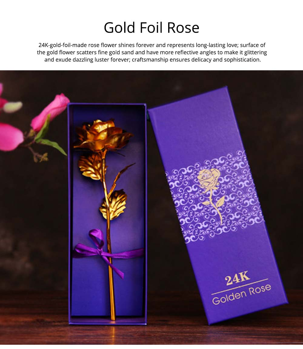 Gold Foil Rose for Lovers, 24K Rolled Gold Rose Bouquet Platinum Rose, Creative Gift of Valentine's  Day 0