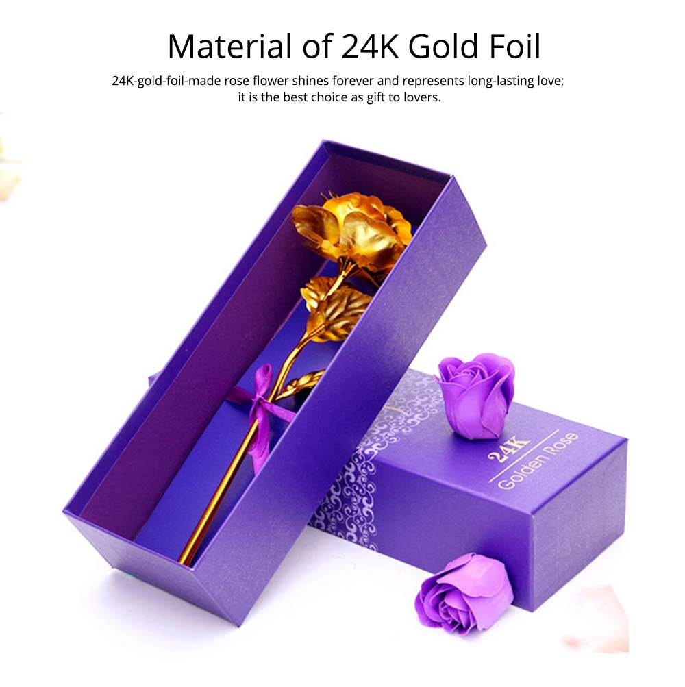 Gold Foil Rose for Lovers, 24K Rolled Gold Rose Bouquet Platinum Rose, Creative Gift of Valentine's  Day 1