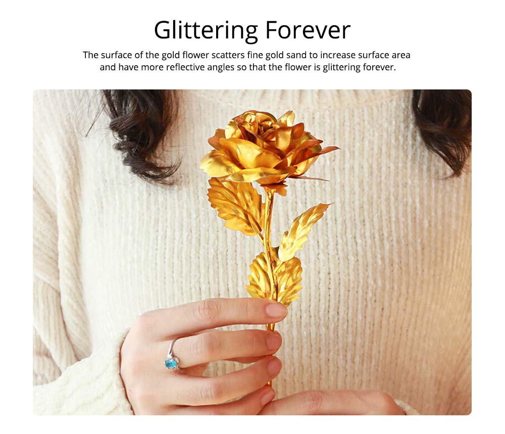 Gold Foil Rose for Lovers, 24K Rolled Gold Rose Bouquet Platinum Rose, Creative Gift of Valentine's  Day 2