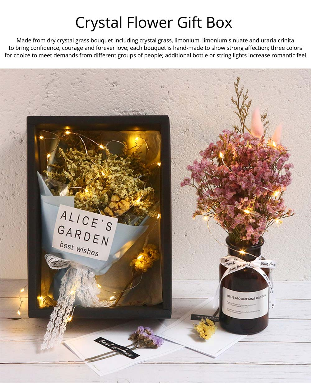 DIY Creative Preserved Fresh Flower, Dry Crystal Grass Bouquet with String Lights, Fresh Romantic Dry Flower for Birthday New Year Valentine's Day 0