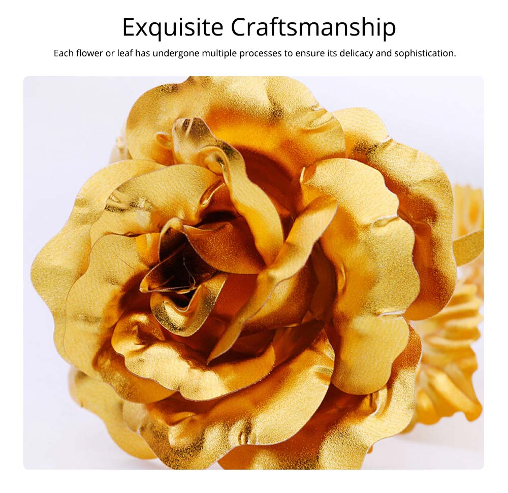 Gold Foil Rose for Lovers, 24K Rolled Gold Rose Bouquet Platinum Rose, Creative Gift of Valentine's  Day 4