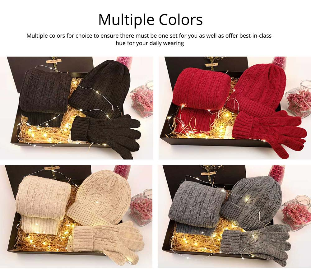 Three-piece Set of Scarf Gloves and Hat for Christmas Gift Birthday Present Valentine's Day Gift to Girls Girlfriend 6