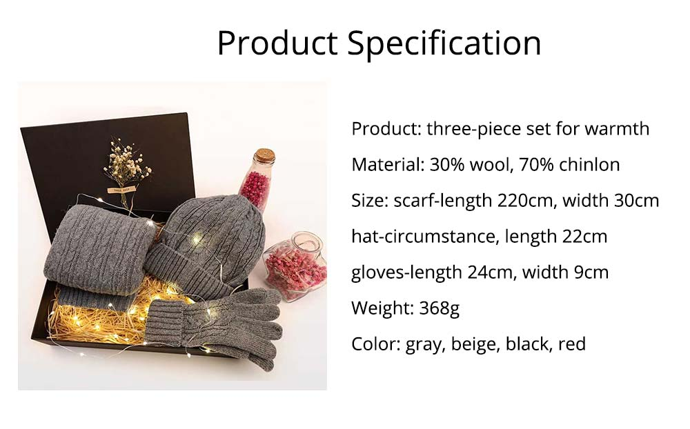 Three-piece Set of Scarf Gloves and Hat for Christmas Gift Birthday Present Valentine's Day Gift to Girls Girlfriend 7