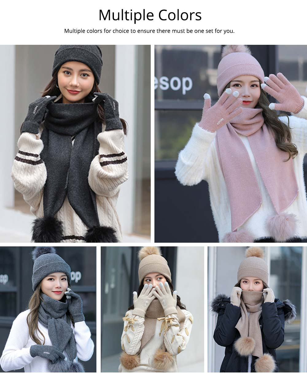 Wool-added Thickened Set of Scarf Hat Gloves as Birthday Gift for Girlfriend Confidant Boyfriend, Three-piece Set for Cold Winter 10