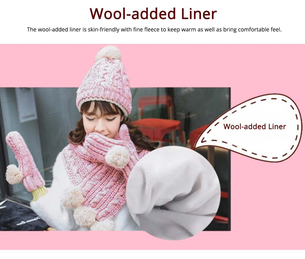 Winter Hat Scarf Glove Set, Anti-coldness Gift for Students 11