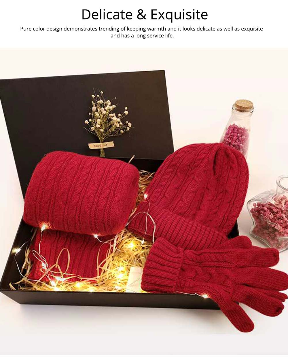 Three-piece Set of Scarf Gloves and Hat for Christmas Gift Birthday Present Valentine's Day Gift to Girls Girlfriend 2
