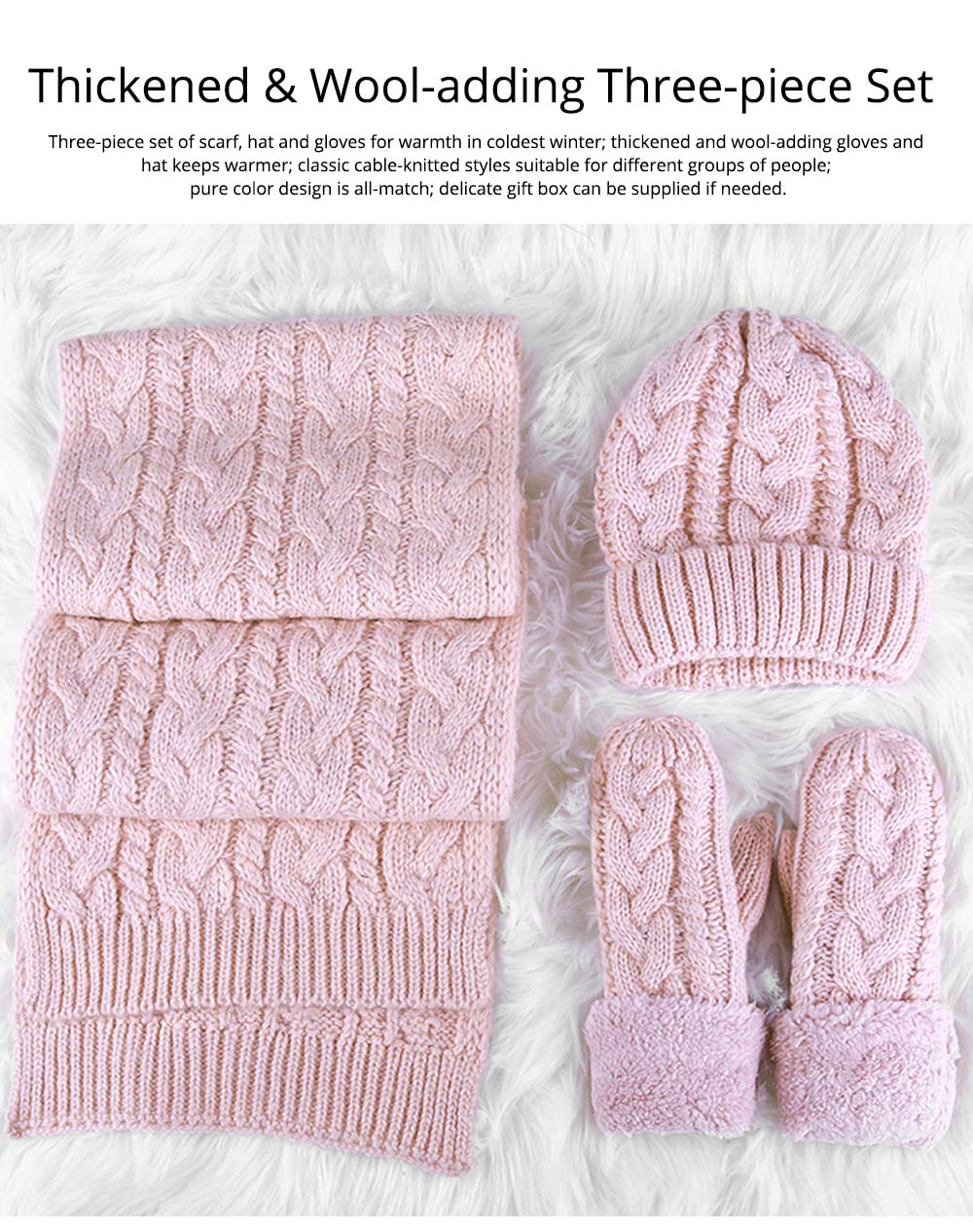 Set Of Scarf Hat Gloves as Gift for Girlfriends Confidant, Thickened Wool-added Three-piece Set for Warmth in Winter 7