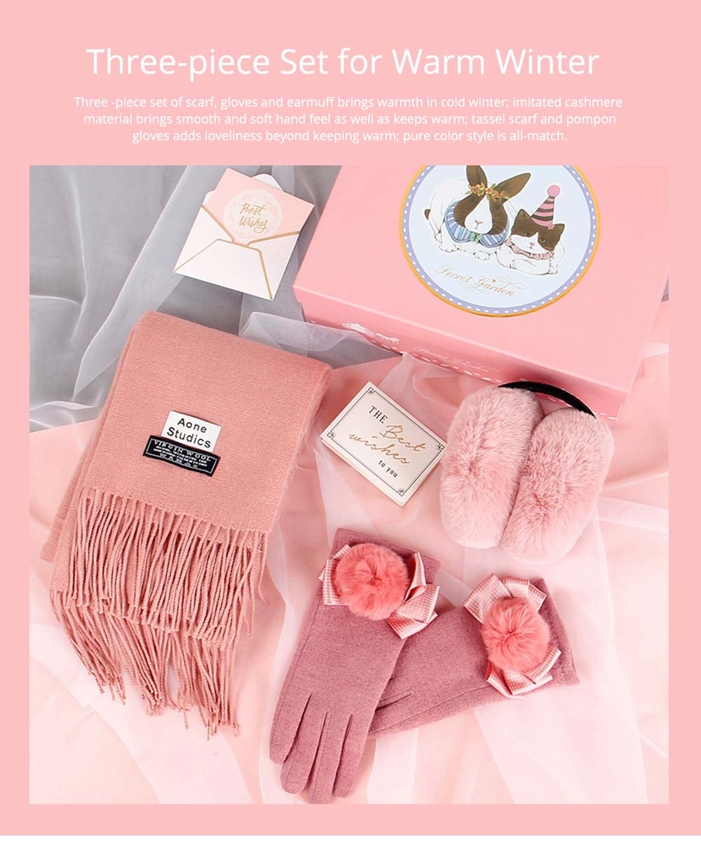 Birthday Present For Mother, Creative Gift Set of Scarf Gloves Earmuff, Elegant Gift Three-piece Set for Warm Winter 7