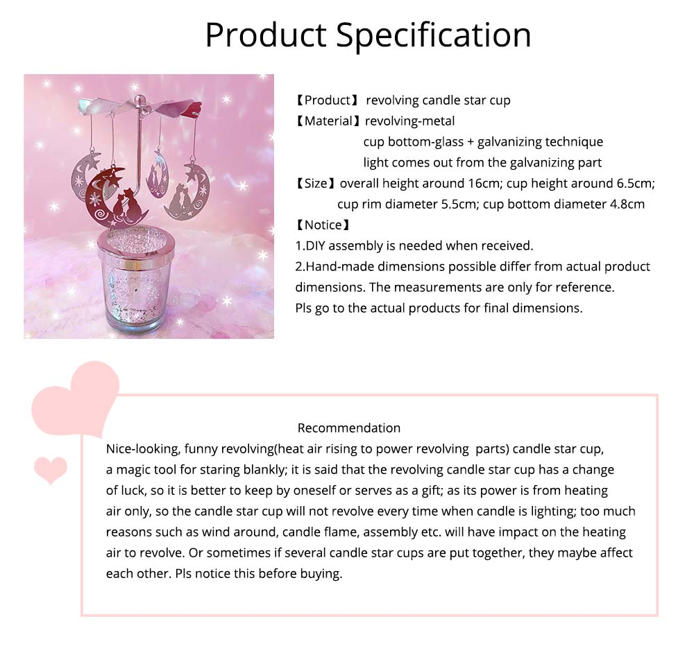 Romantic Birthday Gifts For Her, Lovely Revolving Candle Star Cup for Girlfriend, Lovers, Confidant 13