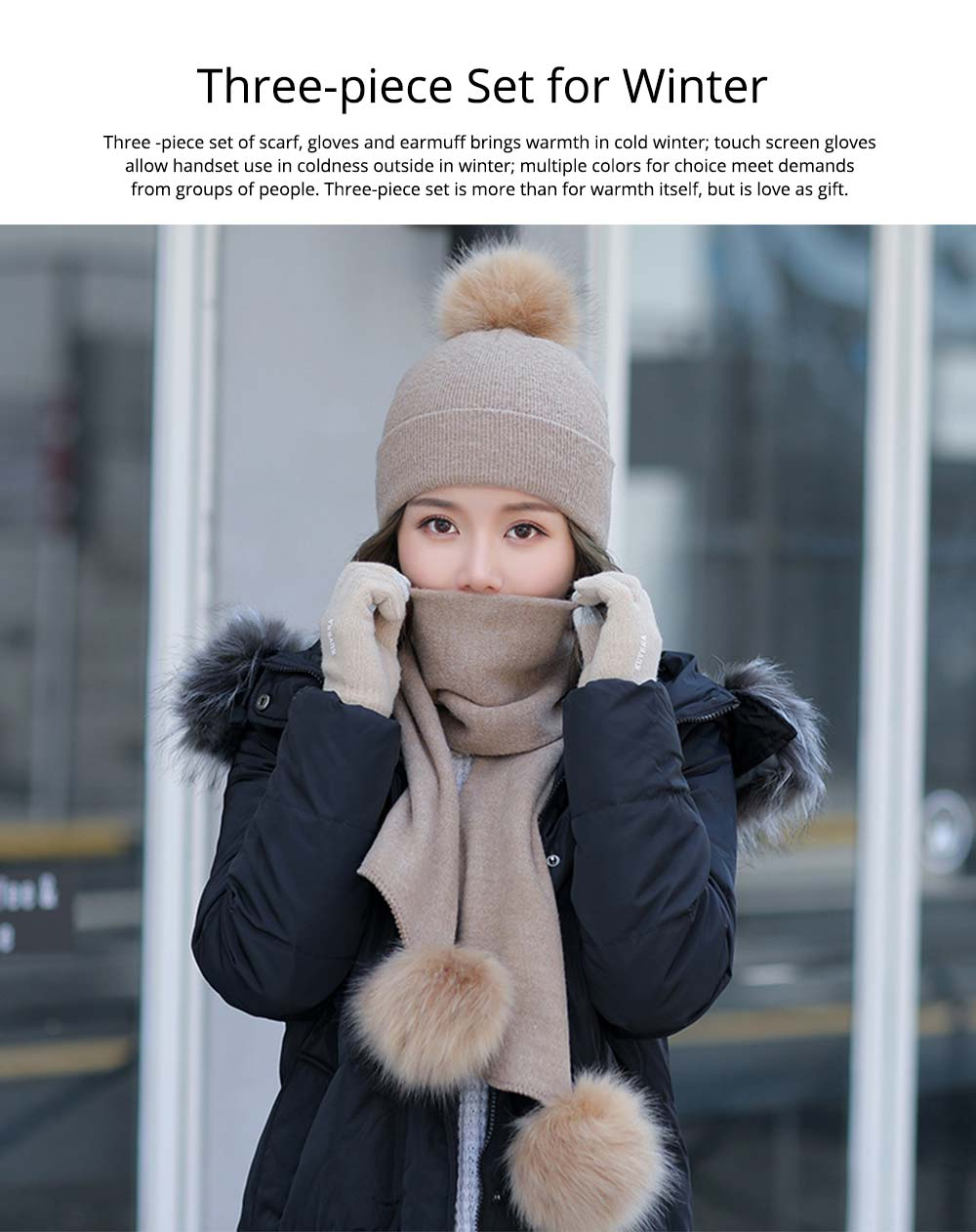 Wool-added Thickened Set of Scarf Hat Gloves as Birthday Gift for Girlfriend Confidant Boyfriend, Three-piece Set for Cold Winter 6