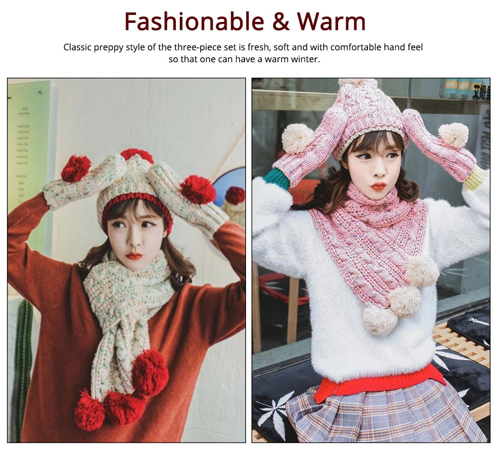 Winter Hat Scarf Glove Set, Anti-coldness Gift for Students 12